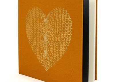 21 cm square Gold Linen Notebook with Gold Foil Heart