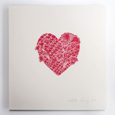 4.Lace Heart Red
